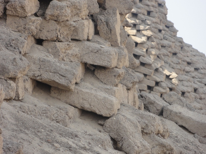 Mudbricks in the Amenemhet III pyramid in Hawara. This was the last great pyramid to be built.